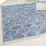 mynes Home Waschbarer Teppich Hell Blau marrokanisches Design mit Anti-Rutsch Rücken Fransenteppich meliert für Küche & Bad Wohnzimmer Modern (120cm x 170cm)