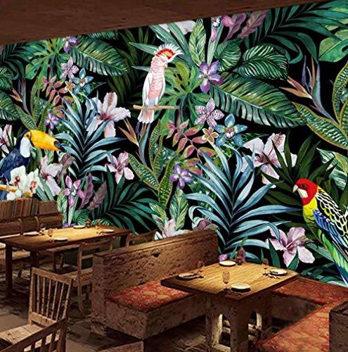 Tapete 3D Vlies Seidentuch Benutzerdefinierte Aquarell Blumen Und Vögel Tapete Tropischen Regenwald Ölgemälde Restaurant Tv Hintergrund Tapete @ 200 * 140 (Vögel ölgemälde)
