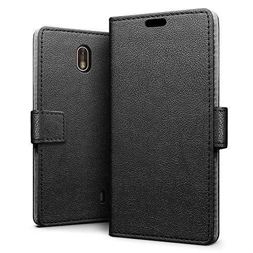 SLEO Nokia 1 Hülle, PU Leder Case Tasche Schutzhülle Flip Case Wallet im Bookstyle für Nokia 1 Cover - Schwarz