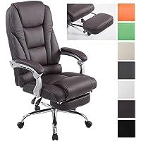 CLP Bürostuhl Pacific mit Kunstlederbezug I Schreibtischstuhl mit Laufrollen I Relaxsessel mit ausziehbarer Fußstütze I erhältlich Braun