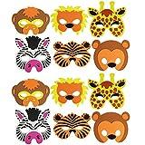 COM-FOUR® 12-teiliges Tiermaskenset, Löwe, Tiger, Giraffe, Zebra, Affe und Bär (12 Stück)