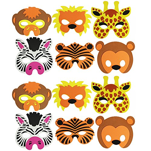 COM-FOUR® 12-teiliges Tiermaskenset, Löwe, Tiger, Giraffe, Zebra, Affe und Bär (12 (Bär Halloween Löwe Tiger Kostüm)