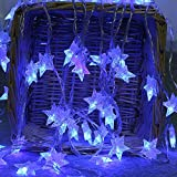 LED Lichterkette,Star Lichterkette Lichterkette Aussen 2M 10 LED Crystal Clear Sterne Fairy String Licht für Weihnachten, Hochzeit, Party, Zuhause sowie Garten, Balkon, Terrasse, Fenster, Treppe, Bar, etc Prevently (Blau)