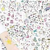 Alintor 285 Stück Einhorn Temporäre Tattoos, Fake Tattoo Einhorn Aufkleber Kinder Geschenke für Mädchen Frauen Erwachsene, Kindergeburtstag Party Wasserdichte Sticker (25 Blätter)