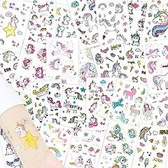 Idea Regalo - Alintor 285 Pezzi Tuaggi Temporanei Unicorno per Bambini Ragazza Ragazzi Adulti Tatuaggio Temporanei Gadget Regalo per Festa di CompleannoTatuaggio Impermeabile (25 Fogli)