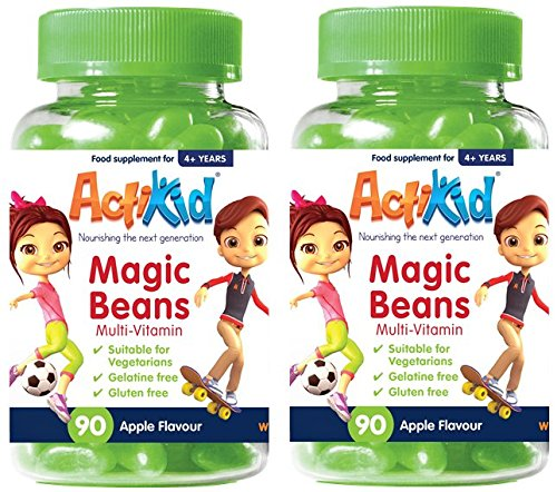 Deal of the Day 2x ActiKid Magic Beans Multi-Vitamin 90x Apple Flavour, Gelatin free, multivitamin for children