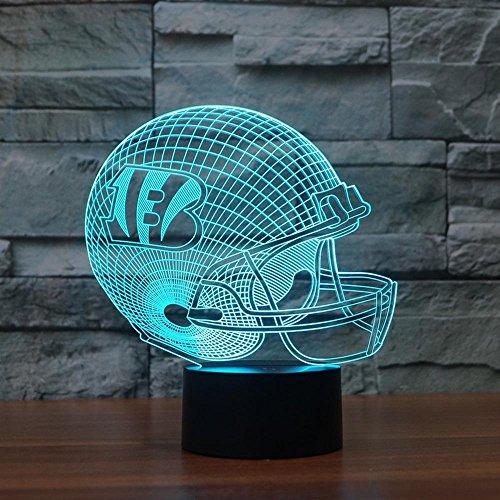 , Rugby Cap Cincinnati Bengals 3D-Licht-bunte-Touch-Controlled LED-Licht, bestes Geschenk für Freunde Kinder ()