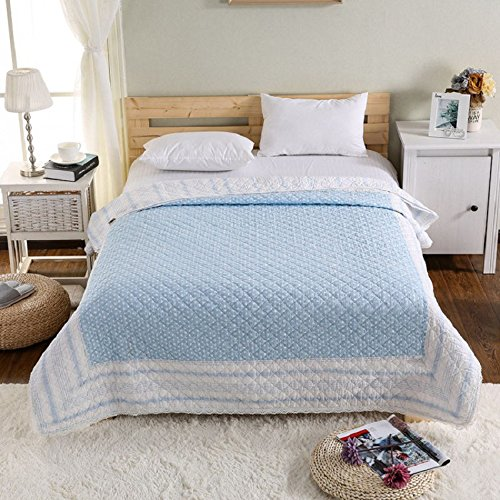 Alicemall Cotton Quilted Bedspread Summer Bedspread/Quilt Single Bedding Set Living Room Air Conditioning Blanket Summer Blanket Bedspread Single Blue 150cm*200cm/59in*79in Pattern 1