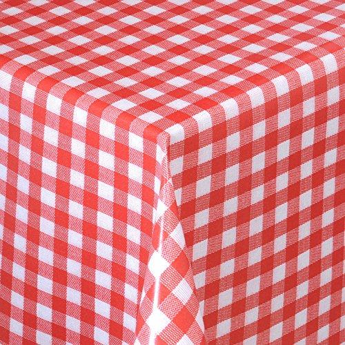 Wachstuch Tischdecke Gartentischdecke mit Fleecerücken Gartentischdecke, Pflegeleicht Schmutzabweisend Abwaschbar Karos Weiss Rot 200x 140 cm - Größe wählbar