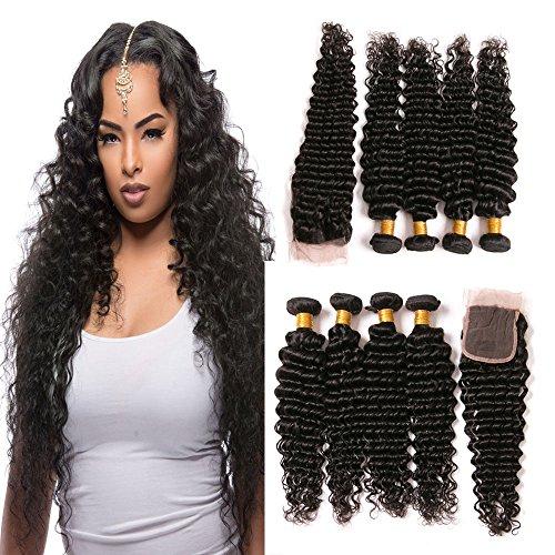 dai-weier-brazilian-hair-deep-wave-4-bundles-with-closure-deep-curly-extensions-grade-7a-virgin-hair