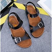 ZKOO Sandalias Mujeres Vendaje Sandalias Planas Punta Abierta Zapatos de Hebilla Verano Sandalias De Playa Zapatos al Aire Libre