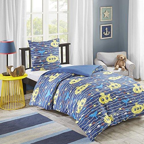 Renforcé Bettwäsche Kinder Junge Blau Gestreift – 100% Baumwolle - 2-teilig Bettbezug & Kissenbezug - Ganzjahres & 4-Jahreszeiten - Ideal für Kinderzimmer - Hawkins Einzelbett, 135x200+80x80cm
