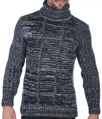 Karl's people Herren Strickpullover in verschieden Farben Rollkragenpullover 7489- Gr. M, Black (Sweater Cashmere-blend)