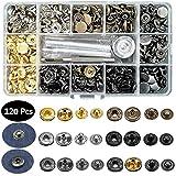 120 Sets Druckknöpfe,Aokebeey Metallknöpfe Snaps Button Modell 633 für Strickjacken,Lederarbeiten,gehäkelten puppen,Jeans,mit Fixierwerkzeug Kit Generation II in 6 Farben