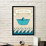 DIYthinker Papier Falten Boot Ozean-Liebe Meer Segeln-Kunst-Malerei Bild Foto Wooden Rectangle Rahmen Ausgangswand-Dekor-Geschenk Small Schwarz