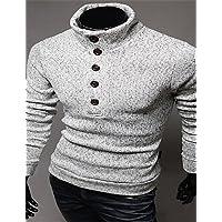 GS~LY Maglioni uomo MEN - T-shirt - Vintage/Informale/Feste/Lavoro Maniche lunghe Cotone , light gray , l
