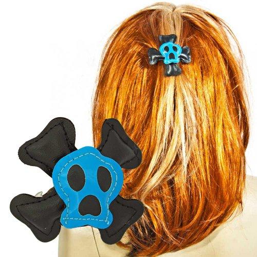 Haarklammer Haarspange Totenkopf Gothic Skull Haarclips blau schwarz
