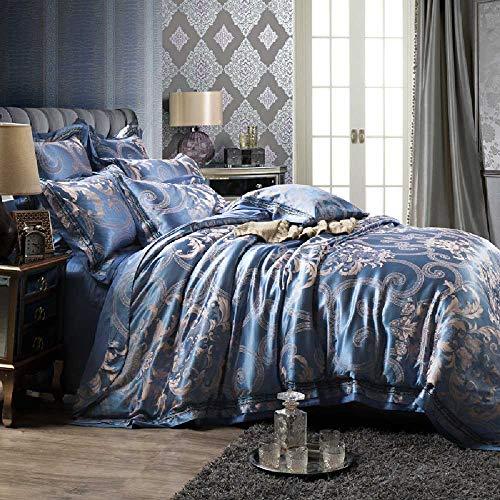 qiaohongshangmao Europäischer und amerikanischer Stil Satin große Tids vierteilige nreihe Rand Bette Baumwolle Feld Baumwolle vierteiligen Set Lit DE 2,0 m/Monet Love Letter EAU Bleu -