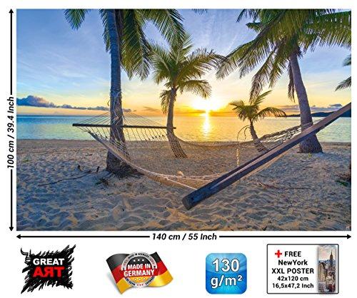 XXL Poster - Hängematte am Palm Beach vor Sonnenuntergang - Wandbild Dekoration Sonne Karibik Urlaub Sommer Strand Meer Palmen Wandposter Fotoposter Wanddeko Bild Wandgestaltung (140 x 100 cm)