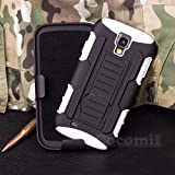 Galaxy S4 Active Coque, Cocomii Robot Armor NEW [Heavy Duty] Premium Belt Clip Holster Kickstand Shockproof Hard Bumper Shell [Military Defender] Full Body Dual Layer Rugged Cover Case Étui Housse Samsung I537 I9295 (White)
