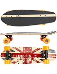 FunTomia® Skateboard Monopatín con rodamientos ABEC-11 y rodillos de dureza 100A - hecho con 7 capas de madera 100% arce canadiense o bambú (Inglaterra / sin ruedas LED / 7 capas de arce canadiense)