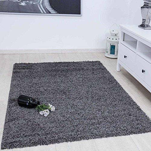VIMODA Prime Shaggy Teppich Farbe Anthrazit Hochflor Langflor Teppiche Modern für Wohnzimmer Schlafzimmer 100x200 cm