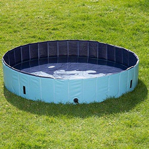 Wangado - Grande piscina per cani in plastica robusta con pareti rinforzate, senza camere d'aria o fastidiose gonfiature con copertura di protezione da foglie e sporco; colore. blu Ø 160 x H 30 cm grande