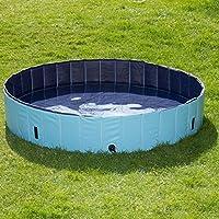 Grande piscina per cani in plastica robusta con pareti rinforzate, senza camere d'aria o fastidiose gonfiature con copertura di protezione da foglie e sporco; colore. blu Ø 80 x H 20 cm