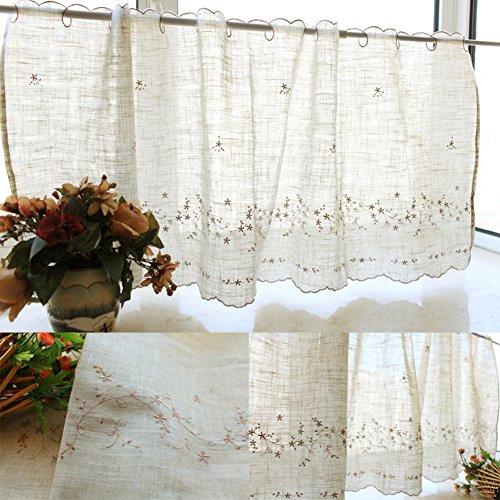 PP&DD Gardine aus Voile Vorhänge,Stickerei Semi-transparent Gardine,Voile Vorhang,Für Schlafzimmer Wohnzimmer Eine Scheibe-A 175x85cm(69x33inch)