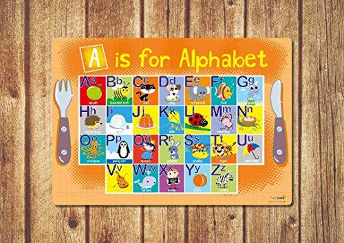 Premium Kinder Alphabet Tisch-Sets-Orange Jungen Mädchen Kinder