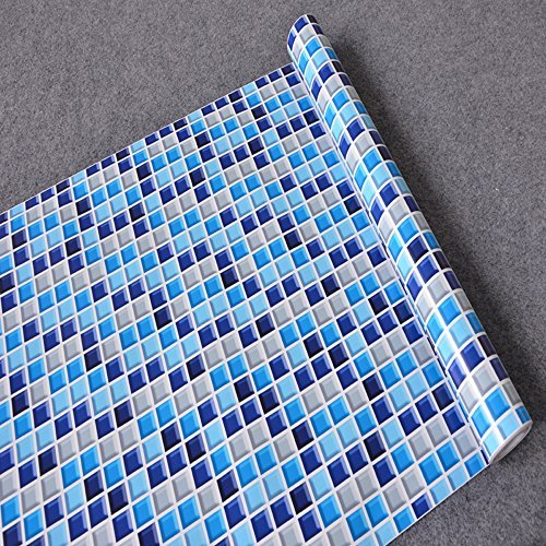LoveFaye Royal Blue Mosaic Contact Paper Self-Adhesive Shelf Liner Countertop Sticker 17.7 Inch by 9.8 Feet