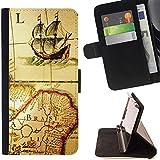 Momo Phone Case / Flip Funda de Cuero Case Cover - Antiguo mapa de Viejo Barco Brasil Continente Vela - Sony Xperia Z2 D6502