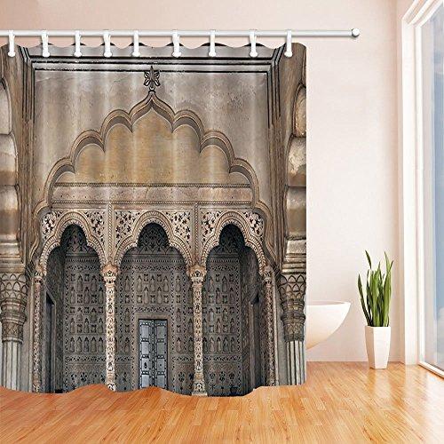 Architektonische Decor Vorhänge Dusche von gohebe Pfau Thron Indien Architektur Bad Vorhänge 180,3x 180,3cm (Star-dusche Vorhang-set)