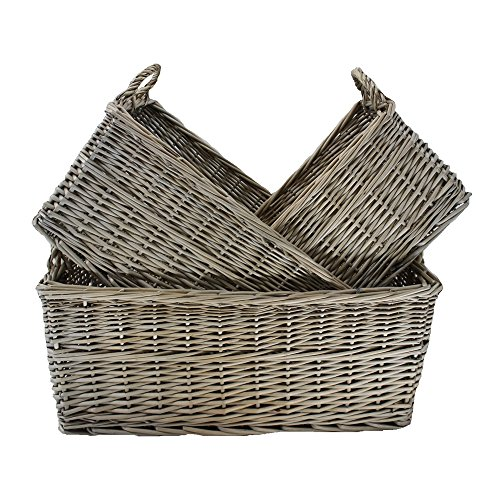 Red Hamper ST036 Rouge Hamper Shallow Antique Wash Panier de rangement, osier, Brown, 59 x 39 x 25 cm Marron, (L (L x L x H) Petit 430 x 270 x 190mm Medium 520 x 320 x 220 mm Grande 590 x 390 x 250 mm (320 mm avec poignée)