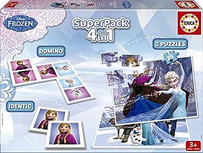 Juegos educativos Educa - Disney superpack 4 en 1, juego de mesa con diseño de Frozen (16144) por Educa Borrás