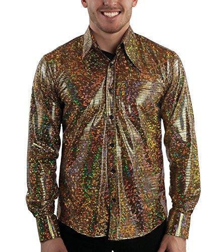 Kostüm Für Türkei Erwachsene - Comycom Disco Glitter 70er Jahre Partyhemd goldfarben L