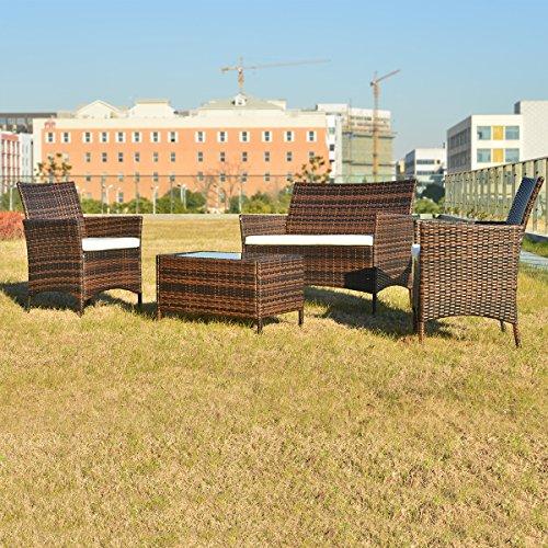 Merax Polyrattan Loungeset Gartenset Gartenmöbel Sitzgruppe Gartentisch 4-teiliges Lounge Set Balkon in Rattanoptik (Braun) - 3