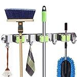 Mop and Broom Holder Wall Mount, Metal Stainless Steel Closet Broom Rack Organizer, Screws or Self Adhesive 3M Tape Mop...
