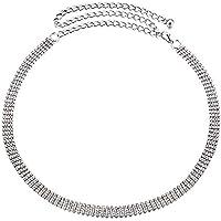 Wedding Decor 112cm Argento 4 Row Strass Cintura Altezza Vita per Donne Ragazze Lustrini/Diamante con elegante Fermaglio…