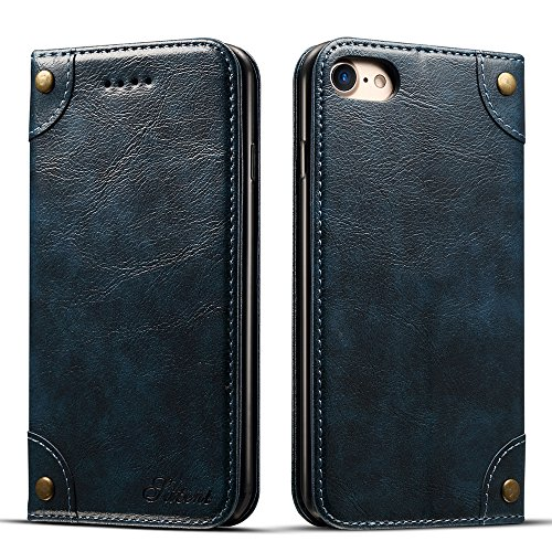 Apple iPhone 6 6s 7 8 Plus X Leder Hülle Flip Case Handytasche und Brieftasche mit Kreditkarten Kartenfach mit Unsichtbarem Magnet Verschluss Standfunktion von Harrms, 5 farben Test
