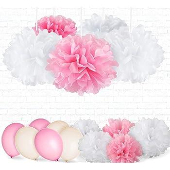 9er Set Seidenpapier PomPoms weiß rosa crème Hochzeit