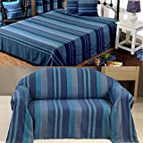 Homescapes - Morocco Textured Stripe Throw - 90 x 100 Inches - Blue Navy Aqua Duck Egg - Handmade 100% Cotton - Suitable for most 3 Seater Sofas - Double King bedspreads - Easy care washable at home