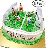 Yeahibaby 8 Pcs Creative Football Gâteau Topper Joueur De Football Gâteau Décor Anniversaire Moule Ensemble pour Garçons (6Pcs Joueurs et 2pcs Gates)
