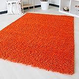 Shaggy Hochflor Langflor in versch. Größen und Farben, unifarbe einfarbig. Bunte Farben (160 x 230 cm, Orange)