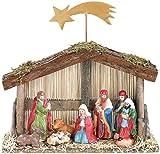 PEARL Weihnachtskrippe: Weihnachts-Krippe (10-teilig) mit handbemalten Porzellan-Figuren (Deko Krippe für Weihnachten)