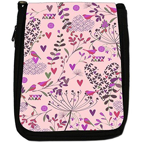 Giardini del paradiso-Borsa a tracolla in tela, colore: nero, taglia: M Nero (Pink Gardens of Paradise)