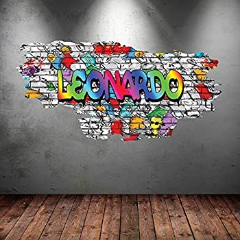 Wall smart designs multi full colour personalised 3d graffiti name cracked wall art stickers decal mural