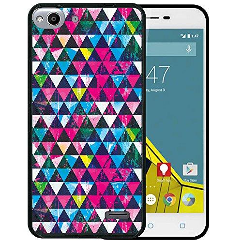 WoowCase Vodafone Smart Ultra 6 Hülle, Handyhülle Silikon für [ Vodafone Smart Ultra 6 ] Strahlende Dreiecke Grunge Wirkung Handytasche Handy Cover Case Schutzhülle Flexible TPU - Schwarz