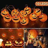 OUSFOT Halloween Decorazioni 10 LED Fata Zucca Luce della Stringa per Alimentate da Batteria Superficie della Palla Cotone e Illuminazione Interno 168cm (10led)