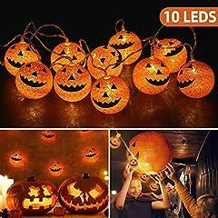 Idea Regalo - OUSFOT Halloween Decorazioni 10 LED Fata Zucca Luce della Stringa per Alimentate da Batteria Superficie della Palla Cotone e Illuminazione Interno 168cm (10led)